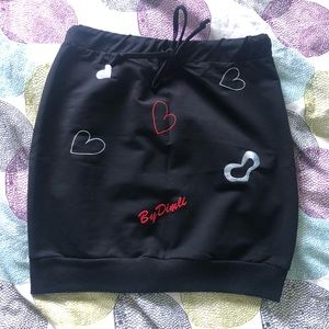 New black skirt with hearts ♥️